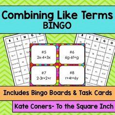 Combining Like Terms Bingo
