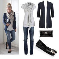 Navy cardi or blazer, grey tee & scarf