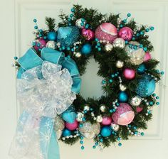 Christmas Wreath Pink Blue Silver christmas-wreaths