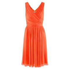 Orange Pleated Chiffon Dress With V Wrap Front - Polyvore