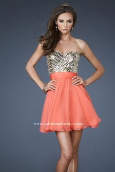 Style #18445 - Available in Hot Coral, Size 10  www.anniesroombridal.com