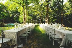 Long tables under strung lights made this setup simply magical! We loved creating this!