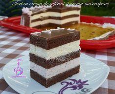 Tort cu crema de capsuni si crema mascarpone Vanilla Cake, Food And Drink, Sweets, Desserts, Cook, Pies, Recipes, Tailgate Desserts, Deserts