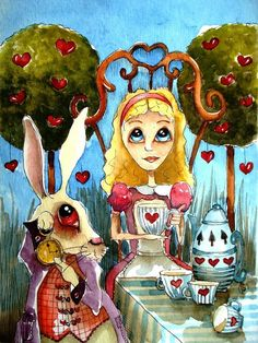 Alice And The Rabbit Having Tea. Painting - Alice And The Rabbit Having Tea. Fine Art Print pinned with - www. Lewis Carroll, Alice In Wonderland Rabbit, Pin Up, Art Sites, Through The Looking Glass, Artist Trading Cards, Unique Art, Watercolor Paintings, Watercolors