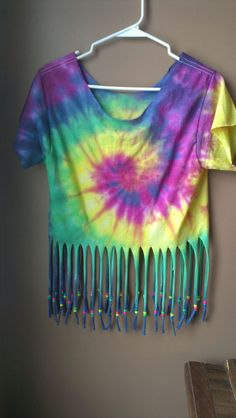 DIY fringe tie dye shirt - colours!
