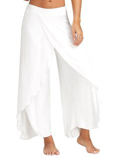 Women Casual Loose Solid Color Elastic Waist Slit Wide Leg Pants