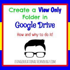 """How to Create a """"View Only"""" Folder in Google Drive  #gafe #googleedu #techyteacher"""