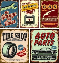 Different Car Service Labels vector 04