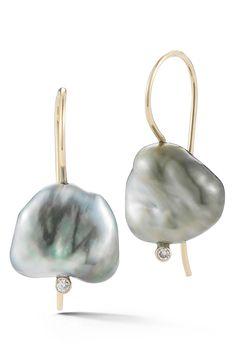 Mizuki Sea of Beauty Pearl & Diamond Drop Earrings Pearl And Diamond Earrings, Pearl Diamond, Pearl Drop Earrings, Gold Pearl, Pearl Jewelry, Gold Earrings, Diamond Jewelry, Keshi Pearls, Cultured Pearls