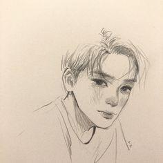 day two: someone i like - leni Kpop Drawings, Anime Drawings Sketches, Cool Art Drawings, Pencil Art Drawings, Drawings Of Men, Sketch Drawing, Pretty Art, Cute Art, Arte Sketchbook