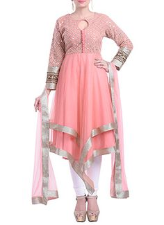 Light Peach Embellished Asymmetric Churidar Suit