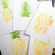 WEBSTA @ fourwetfeet - Reworking on this pineapple lettering work. I want it to be perfect. 👌 🍍🍍🍍 #summer #pineapple #watercolor #handlettering #brushlettering #lettering #illustration #art #painting
