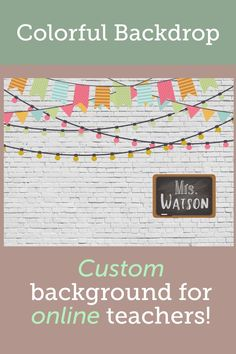 A colorful farmhouse classroom look! This beautiful background is customizable and is printed on high quality vinyl with grommets for easy hanging. Classroom Signs, Online Classroom, Classroom Posters, Classroom Decor, Classroom Background, Vinyl Banners, Esl, Backdrops, Farmhouse