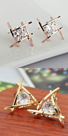 So cute earrings !Fashion Unique Tic Tac Toe Triangle Zircon Earrings Studs #earring #studs #tac #toe #fashion