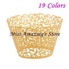 50ks Laser Cut Gold Lace obrouček Vine Cupcake Liner píce pečení pohár muffin…