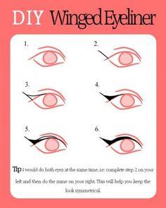 Duidelijk tekening voor het maken van een eyeliner-vleugel op je ooglid     /    Winged Eyeliner step by step. My new favorite thing to do.