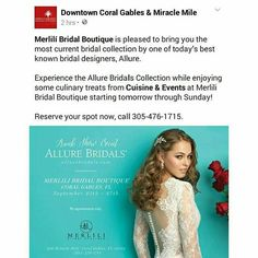 Join us on September 25, 26 & 27. Merlili Bridal Boutique is hosting Allure Bridals #TrunkShow and Cuisine & Events will be offering delicious hors d'oeuvres. Allure Bridals, The Allure, Hors D'oeuvres, Coral Gables, Bridal Boutique, Bridal Collection, Event Planning, Catering, September