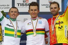 Worlds podium: Simon Gerrans, Michal Kwiatkowski and Alejandro Valverde
