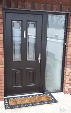 Black Palermo Composite Door and Sidelite. Triple glazed with plain Satinised glass with clear border. Black Composite Front Door, Black Front Doors, Front Doors With Windows, Double Front Doors, Front Door Entrance, Composite Door, House Front Door, Front Door Colors, Glass Front Door