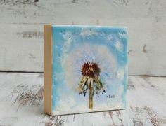 Susan Najarian | Wish Dreamy Dandelion | encaustic, photograph on wood panel /sm