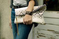 oversized snakeskin clutch
