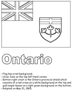 Ontario flag colouring page and some facts about its history Flag Coloring Pages, Coloring For Kids, Ontario, Canadian Social Studies, Canada Day Crafts, Flag Drawing, All About Canada, Teaching Aids, Worksheets For Kids