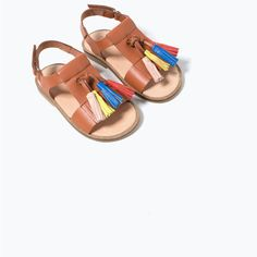 Image 7 of LEATHER SANDALS WITH TASSELS from Zara. Summer SandalsSummer  ShoesKids ...