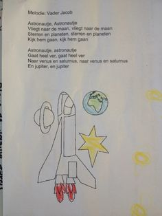 Versje ruimte Sky Moon, Stars And Moon, Buzz Lightyear, Space Activities For Kids, Space Theme, Yoga For Kids, School, Google, Ideas