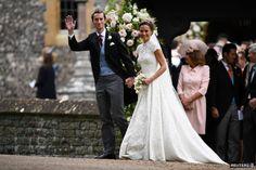 Pippa Middleton ajej manžel James Matthews čerstvo po obrade v kostole.