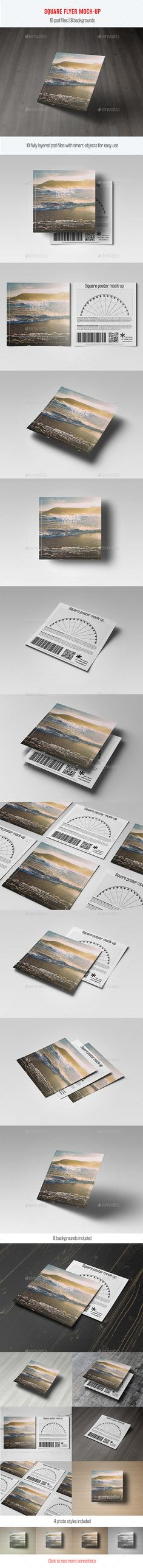 Square Flyer Mock-Up  #PSD #3000x2250 #flyer • Click here to download ! http://graphicriver.net/item/square-flyer-mockup/11907027?ref=pxcr
