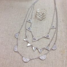 New Pave Chevron Necklace and Ring in Silver. So pretty!