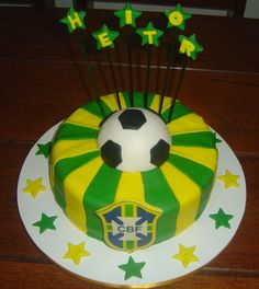 Bolo Brasil Cake, Desserts, Food, Theme Cakes, World Cup, Yellow, Green, Tailgate Desserts, Deserts
