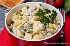 SALATA DE CARTOFI CU CIUPERCI   Diva in bucatarie Pesto, Potato Salad, Salsa, Potatoes, Ethnic Recipes, Helpful Hints, Drink, Food, Tips
