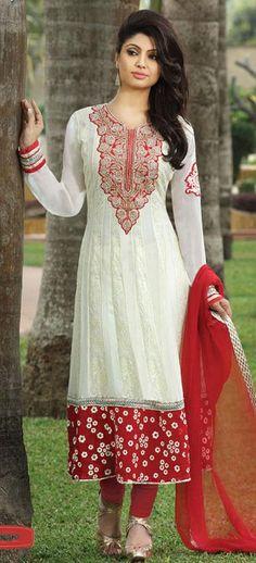 White Faux Georgette Thread Work Anarkali Salwar Kameez