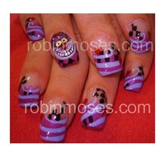 cheshire cat alice in wonderland by robinmoses from Nail Art Gallery