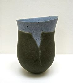 JENNIFER LEE (b. 1956) - Twenty Years - Twenty Pots, 10 Sep - 2 Oct 2008, Galerie Besson - 10. (JLEE306) Olive, speckled blue space, 2007, handbuilt coloured stoneware, 18.6 x 12.8 x 12.1 cm - coil built, embedded colourant