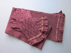 Dark Red Hand Knit Scarf and Gloves