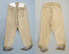 Breeches, (front and rear), 1770s, American or European, cotton. The Met: http://www.metmuseum.org/collections/search-the-collections/90570?img=0