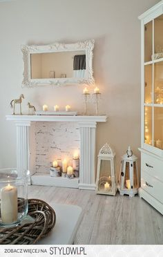 A faux mantel with wallpaper to create a complete look