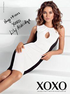 Black and white colorblock dress I XOXO Fall 2013 Ad Campaigns model Lily Aldridge photographed by Rocco Laspata
