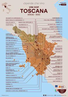 Tutti i vini DOP (DOCG e DOC) della Toscana, localizzati sulla carta regionale Wine And Liquor, Wine Drinks, Beverages, Italy Map, Italy Travel, Wine Facts, Chianti Classico, Italy Honeymoon, Wine Guide