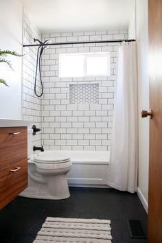 Bathroom ideas Bold Black Hexagon Tile Bathroom Flooring Design Protect Your Children With a Passwor Black Tile Bathrooms, Upstairs Bathrooms, Master Bathrooms, Small Bathrooms, White Subway Tile Bathroom, Small Bathroom Renovations, Modern Bathrooms, Bathroom Mirrors, Bathroom Hardware