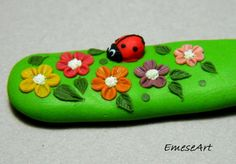 Ladybug in Flower Garden Animation Polymer Clay Gift by EmeseArt