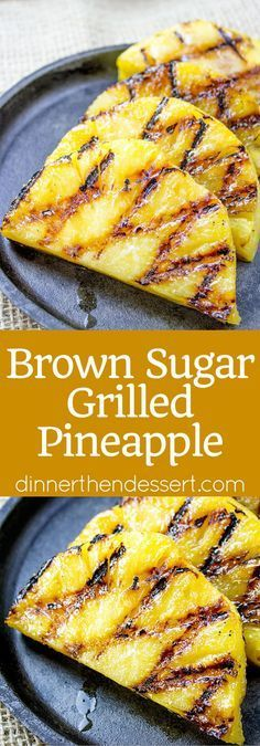 Easy Brown Sugar Grilled Pineapple made in a grill pan is the quintessential side dish to any summer dishes you're making. When grilled the pineapple gets soft, tender and melts in your mouth! - Grilled Pineapple {All You Need to Know! Fruit Recipes, Summer Recipes, Chicken Recipes, Cooking Recipes, Easy Grill Recipes, Barbecue Recipes, Summer Grilling Recipes, Barbecue Sauce, Recipes For The Grill