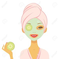 Illustration of Young woman applying cucumber mask Vector format vector art, clipart and stock vectors. Cucumber Mask, Avocado Face Mask, Homemade Face Moisturizer, Makeup At Home, Rodan And Fields Consultant, Cleansing Mask, Manicure E Pedicure, Spa Party, Natural Cosmetics