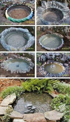 outdoor fountains for gardens Diy Water Fountain, Garden Water Fountains, Outdoor Fountains, Outdoor Fish Ponds, Ponds Backyard, Lake Garden, Garden Art, Small Garden On Terrace, Backyard Patio Designs
