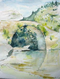 rio Ara; aquarelle; Aragon; Pyrénées Espagne