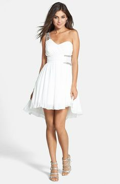 Way-In Embellished One-Shoulder Fit & Flare Dress (Juniors) | Nordstrom #NEED!