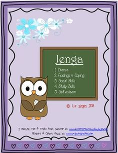 Jenga Questions (for counseling) has 48 questions for each of these categories:    1- Divorce  2- Feelings & Coping  3- Social Skills  4- Study skills  5- Self esteem    Check TPT to buy & download!    http://www.teacherspayteachers.com/Product/Jenga-Questions-for-counseling#