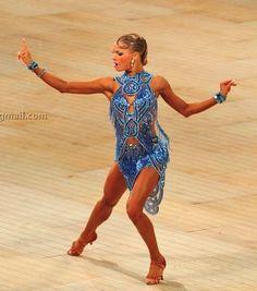 blue silver beaded fringe halter latin ballroom dance dress Yulia Zagoruychenko